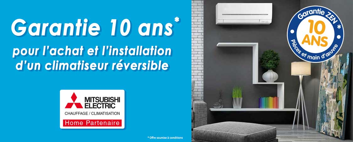 thermo conseils climatisation reversible garantie 10 ans RGE QualiPAC Mitsubishi home partenaire